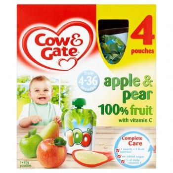 Cow And Gate 4 Month+ Apple And Pear Pouches 4 X 90G