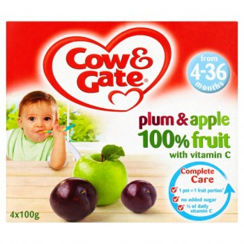 Cow And Gate 4 Month+ Plum And Apple Pots 4 X 100G