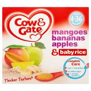Cow And Gate Banana Apple Mango Baby Rice 4 X 100G