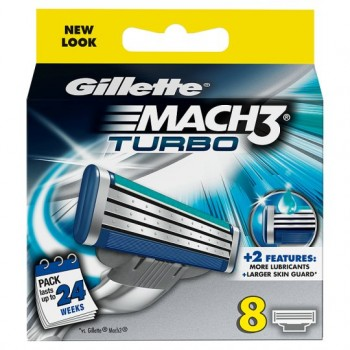 Gillette Mach 3 Turbo Razor Blades 8 Pack