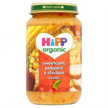 Hipp 10 Month Organic Sweetcorn Peppers And Chicken Risotto 220G