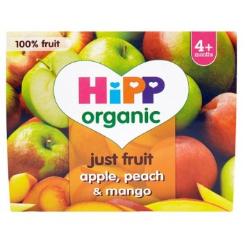 Hipp 4 Month Organic Apple Peach Mango Pots 2X2x100g