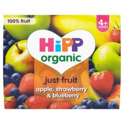 Hipp 4 Month Organic Apple Strawberry Blueberry 4X100g