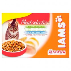 Iams Cat Adult Meat Selection Jelly & Gravy 12X100g