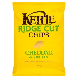 Kettle Ridge Chips Cheese And Onion 150G
