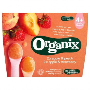 Organix 4 Month Double Apple Strawberry Peach Puree 4X100g