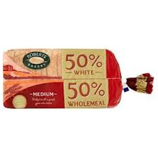 Roberts 50pc White 50pc Wholemeal Medium 800G