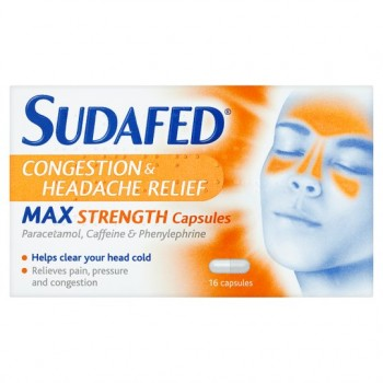 Sudafed Headache Max Strength Capsules 16'S