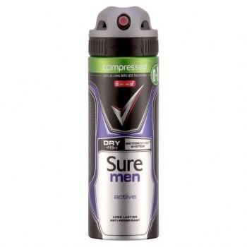 Sure Men Active Antiperspirant Deodorant Compressed 125Ml