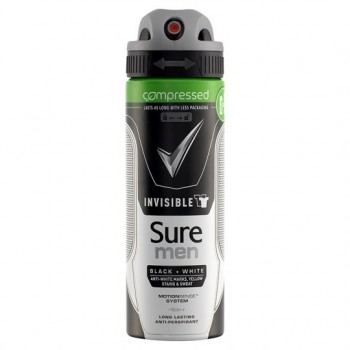Sure Men Black And White Antiperspirant Deodorant Compressed 125Ml