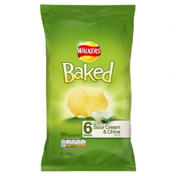 Walkers Baked Sour Cream And Chive 6X25g