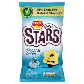 Walkers Baked Stars Cheese And Onion Crisps 6 Pack