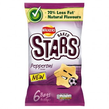 Walkers Baked Stars Pepperoni 6 Pack