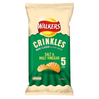 Walkers Crinkles Salt And Malt Vinegar 5X28g