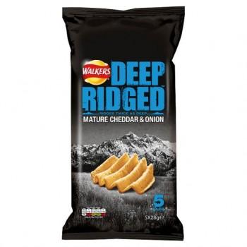 Walkers Deep Ridged Mature Cheddar &Onion Crisps 5X28g