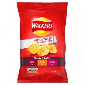Walkers Meaty Crisps 6X25g
