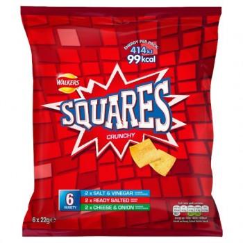 Walkers Squares Variety Snacks 6 Pack