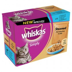 Whiskas Pouches Simply Steamed Fish 12X85g