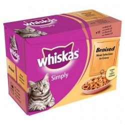 Whiskas Simply Braised Meat Gravy 12X85g