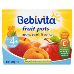 Bebivita Apple Peach And Apricot Fruit Pots 4X100g