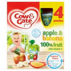 Cow And Gate 4 Month+ Apple And Banana Pouches 4 X 90G