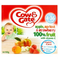 Cow And Gate 4 Month+ Apple Apricot And Strawberry 4X100g