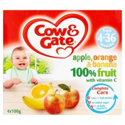 Cow And Gate 4 Month+ Apple Orange And Banana 4 X 100G