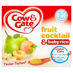 Cow & Gate Fruit Pot Fruit Cocktail And Baby Rice 4X100g