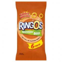 Golden Wonder Ringos Beef Flavour 6 Pack 84G