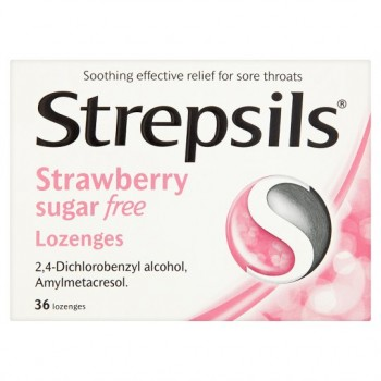 Strepsils Strawberry Sugar Free 36S